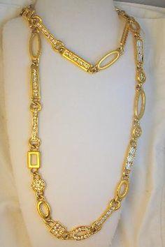 Ornate Kunio Matsumoto for Trifari Long Rhinestone Link Necklace