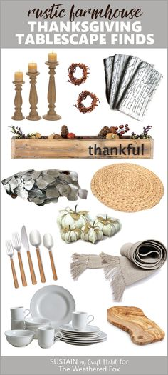 Create a gorgeous rustic farmhouse style Thanksgiving tablescape with these budget-friendly items. #Thanksgiving #shoppingguide #tablescape #modernfarmhouse #fixerupper