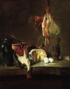 Still Life with Fowl,c. 1728-30  Jean-Baptiste Siméon Chardin  French, 1699-1779 Oil on canvas (one of a pair) 15-3/4 x 12-3/8 in. (40.0 x 31.4 cm) The Norton Simon Foundation
