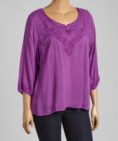 Lilac Button Three-Quarter Sleeve Top - Plus