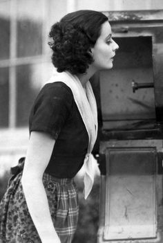 """Greta Garbo with dark hair! on the set of """"Torrent"""" - a 1926 film."""