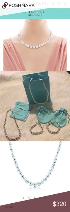 """Tiffany bead necklace Versatile and chic. Graduated necklace in sterling silver. 16.25"""" long. Like new, recently polished; comes with new pouch.  6-11mm Tiffany & Co. Jewelry Necklaces"""
