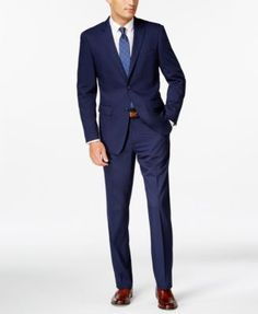 A contemporary slim-fit and blue-twill design combine to make this stylish suit from Perry Ellis a timeless go-to addition to your wardrobe. | Viscose/polyester | Dry clean | Imported | Jacket: notche