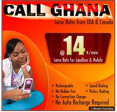 http://www.amantel.com/special_offer/africa-calling-card/ghana-phone-card.aspx    Some facts about our Special Offer:  No Contract!  No Membership Fees!  Rechargeable!  Pin less Dialing!  Speed Dialing!