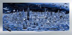 Reflective shades of Manhattan Island B&W - 90 x 40 cm - Sérigraphie 3D