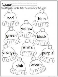 Free winter hats coloring activity that provides practice with color words. Terrific for Pre-K and Kindergarten.: