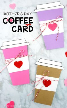 Simple coffee card template to use for a Mother's Day card. The card is super easy for kids of all ages to make. Print out the templates cut out the pieces and assemble the coffee cup card. Simple Mother's Day card ideas for kids. Mothers Day Card Template, Fathers Day Cards, Mothers Day Crafts For Kids, Fun Crafts For Kids, Easy Crafts, Coffee Cup Crafts, Easy Art For Kids, Coffee Cards, Mother's Day Diy