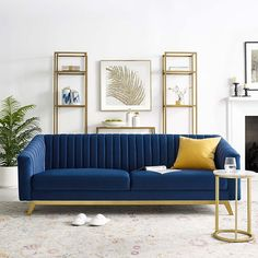 Blue Velvet Sofa Living Room, Living Room Sofa Design, Living Room Modern, Home Living Room, Living Room Designs, Blue And Gold Living Room, Blue Velvet Loveseat, Blue Couch Living Room, Blue Sofas
