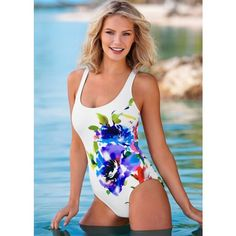 Venus Keyhole Back One-piece ($59) ❤ liked on Polyvore featuring swimwear, one-piece swimsuits, sexy one piece bathing suits, one-piece swimwear, shelf bra, balconette swimsuit and balcony bra