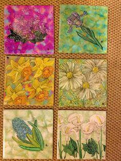 mixed media flower kitchen tiles