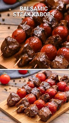 Balsamic Steak Kabobs are a quick and easy dinner recipe on the grill! Marinated steak pieces in a balsamic steak marinade that are paired with cherry tomatoes on a skewer. They are grilled to perfect. Delicious enough to serve at a summer bbq to guests too! #steak #kabobs Marinade Für Steaks, Beef Kabob Marinade, Beef Kabobs, Marinated Steak Kabobs, Bbq Skewers, Summer Grilling Recipes, Summer Recipes, Healthy Dinner Recipes, Healthy Steak Dinners