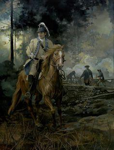 American William Washington, by Pamela Patrick White. American Revolutionary War, American War, American Soldiers, Early American, Native American, Military Art, Military History, Military Uniforms, Continental Army
