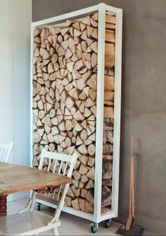 Great idea- but so totally not safe to actually move around! Rolling firewood storage cart #DIY