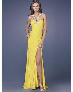 Sexy Sheath Column Halter Beading Sleeveless Floor-length Elastic Woven Satin Prom Dresses