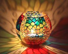 Sostenedor de vela de florero Cuentos orientales. Vitral