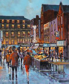 Moore Street by Chris McMorrow Rain Umbrella, Irish Art, Degas, Inspiring Art, Umbrellas, Rainy Days, Monet, Dublin, Ireland