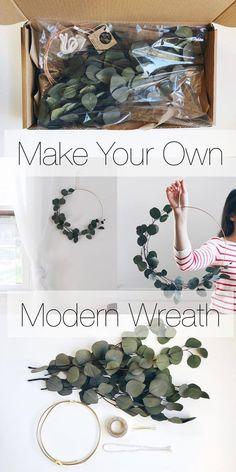 Make your own moder wreath kit. #ad At home DIY modern wreath project. Eucalyptus simple wreath DIY. Modern farmhouse style Eucalyptus wreath. #farmhouse #farmhousestyle #farmhousedecor #diy #kit #wreath #modern #eucalyptus #doityourself #fixerupper #walldecor #homedecor #homedecorideas