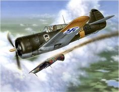 'Hawks over Finland'.Curtiss Hawk 75A-4 Sussu (also P-36) of the Finnish Air Force, shooting down a Russian LaGG-3.