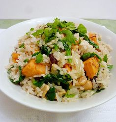 Sweet Potato Coconut Cashew Rice with some broiled salmon would make a great dinner.