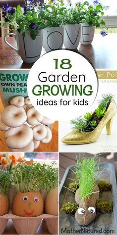 18 glorious garden ideas for kids that will get your children growing. #gardeningwithkids