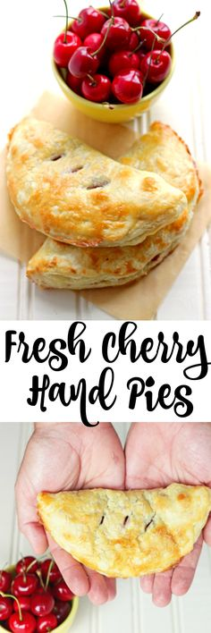 Mini hand pies made with fresh cherries! A cherry pie recipe made with fresh che… Mini hand pies made with fresh cherries! A cherry pie recipe made with fresh cherries can't be beat for of July pie dessert! Best Dessert Recipes, Fruit Recipes, Pie Recipes, Sweet Recipes, Baking Recipes, Sweet Cherry Recipes, Nutella Recipes, Dessert Simple, Dessert Aux Fruits