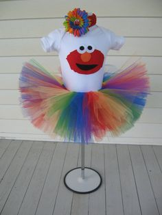 Rainbow Elmo Tutu Set by annaliesbabyboutique on Etsy, $40.00