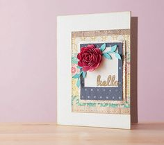 Floral hello card. Make It Now with the Cricut Explore in Cricut Design Space.