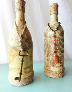 Vintage Bottle with Old Map by 505Vintage on Etsy