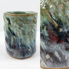 This might be the most variable combination of @john.britt1 glazes I've tried yet. Strontium Crystal Magic Cool on the top half then Panama Red over the whole thing. The SCM seems to stop the silicon carbide from reducing the colour so where they mix you get the greens and blues fading into reds where there's local reduction.  #ceramics #ceramic #pottery #clay #claystagram #instapottery #ironstone #handmade #glaze #cone6 #wheelthrown #sliptexture