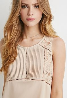 Pintucked Lace Panel Top | Forever 21 - 2000077548