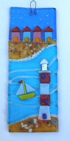 FUSED GLASS PICTURE, BEACH HUTS, LIGHTHOUSE AND BOAT WITH HOOK FOR HANGING | eBay