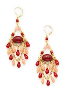 Rachel Reinhardt  Pink & Red Coral Multi Chain Chandelier Earrings