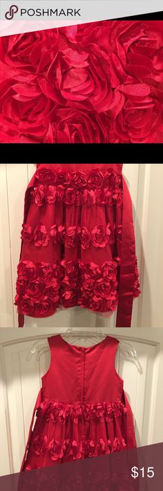 👧Red Rose Dress size 5 This beautiful red rose dress has a very full bodied skirt. My little girl loved to spin around in it.   Smoke free home. Bonnie Jean Dresses