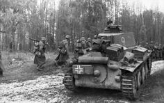 Panzer 38 (t) and infantry in Russia, late 1941.  These tanks were taken over from the Czech army, and gave good service in the early war years, most notably being the prime equipment of Rommel's 7th Panzer Division during the invasion of France the preceding year.  The chassis formed the basis of a successful tank destroyer later in the war.