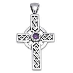 Irish Celtic Cross with amethyst
