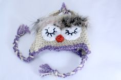 Owl Hat Baby Girl 03 months by MeganFallow on Etsy, $20.00