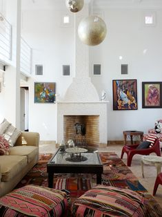 Amazing living room with warm fresh colors and light sparkles...