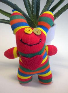 Sock Monster With Heart named Finnly by MaddiesMinions on Etsy