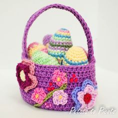 Free crochet Easter basket pattern with progress pictures from Petals to Picots, links to pattern for eggs