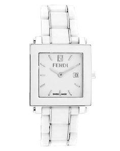 Ceramic Quadro Watch, Small White