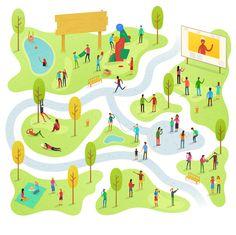 配色 Fantastic Illustrated Maps by Alex Mathers - The Fox Is Black City Illustration, Watercolor Illustration, Design Thinking, Zoo Map, Isometric Map, Village Map, Coding For Kids, Game Character Design, Parking Design