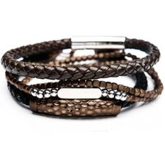 CACAO Brown Leather and Cappuccino Steel Bracelet Stack for Men Tribal Bracelets, Braided Bracelets, Bracelets For Men, Black Leather Bracelet, Leather Cuffs, Brown Leather, Braided Leather, Stone Beads, Bracelet Making