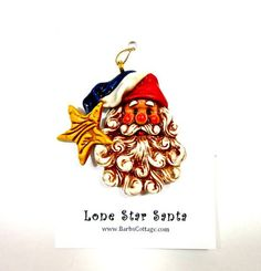 Lone Star Santa Christmas Ornament Porcelain by BarbsCottage, $19.50