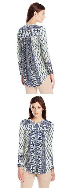 Lucky Brand Women's Woodblock Printed Top, Natural Multi, X-Small