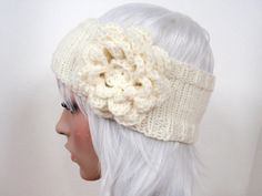 new in the shop! MADE TO ORDER - Custom Knit Headband Headwrap with Flower in any color - Jenn Likes Yarn