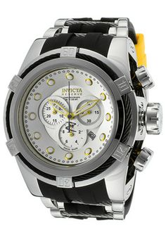 Invicta Men's Bolt/Reserve Chronograph Silver Dial Black Polyurethane & Stainless Steel