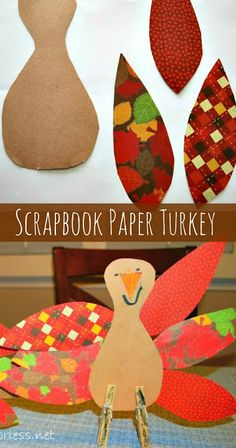 Mess For Less: Scrapbook Paper Thanksgiving Turkey Craft