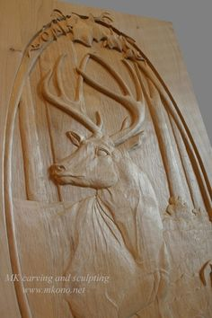 "Door carving ""Deer in forest"""