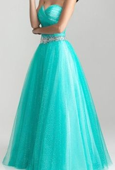 Turquoise strapless a-line dress with sweetheart neckline.