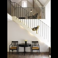 J O H N . M I N S H A W . D E S I G N S-Love the stairway and simple iron railing
